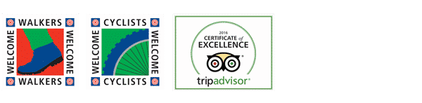 Visit England 4 star award, Cyclists and Walkers Welcome, Trip Advisor Certificate of Excellence